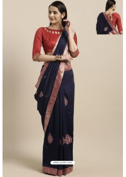 Navy Blue Party Wear Poly Silk Embroidered Sari