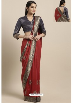 Maroon Party Wear Poly Silk Embroidered Sari