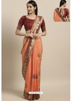 Light Orange Party Wear Poly Silk Embroidered Sari