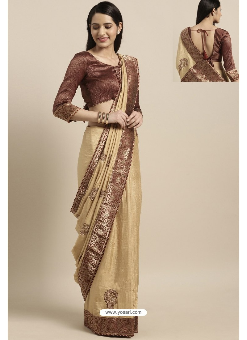 Cream Party Wear Poly Silk Embroidered Sari