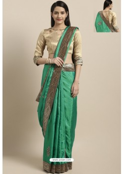 Jade Green Party Wear Poly Silk Embroidered Sari