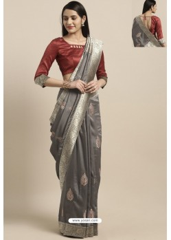 Grey Party Wear Poly Silk Embroidered Sari
