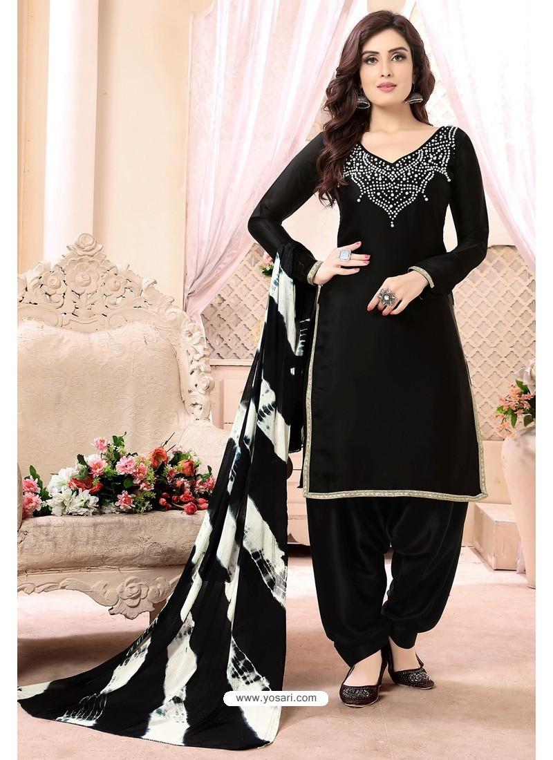 Scintillating Black Embroidered Party Wear Punjabi Patiala Suit