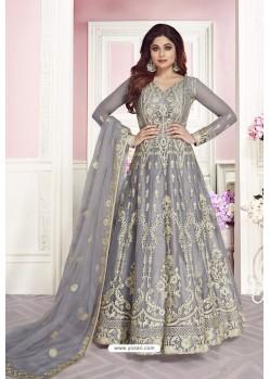 Silver Latest Pure Dola Silk Embroidered Designer Anarkali Suit