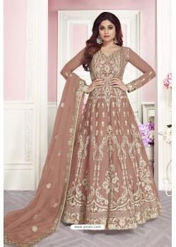 Beige Latest Pure Dola Silk Embroidered Designer Anarkali Suit