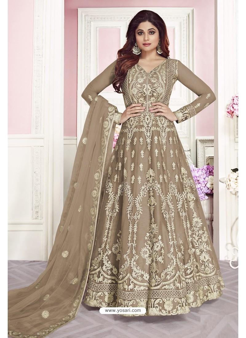 Taupe Latest Pure Dola Silk Embroidered Designer Anarkali Suit