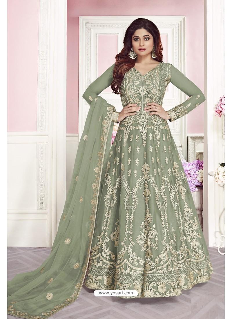 Grayish Green Latest Pure Dola Silk Embroidered Designer Anarkali Suit