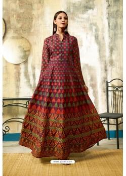 Deep Wine Partywear Designer Digital Print Chanderi Floor Length Kurti