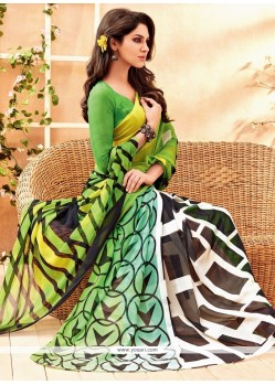 Amusing Faux Chiffon Green Casual Saree