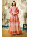 Peach Partywear Designer Digital Print Chanderi Floor Length Kurti