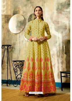 Green Partywear Designer Digital Print Chanderi Floor Length Kurti
