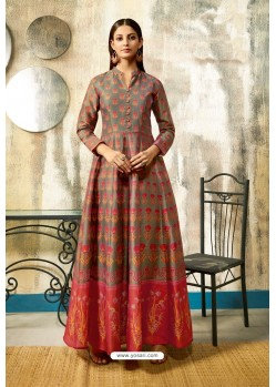 Grey Partywear Designer Digital Print Chanderi Floor Length Kurti