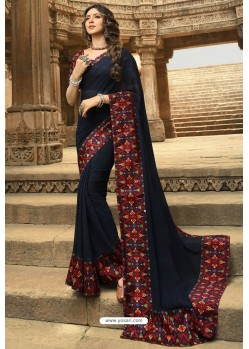 Navy Blue Casual Wear Designer Georgette Sari