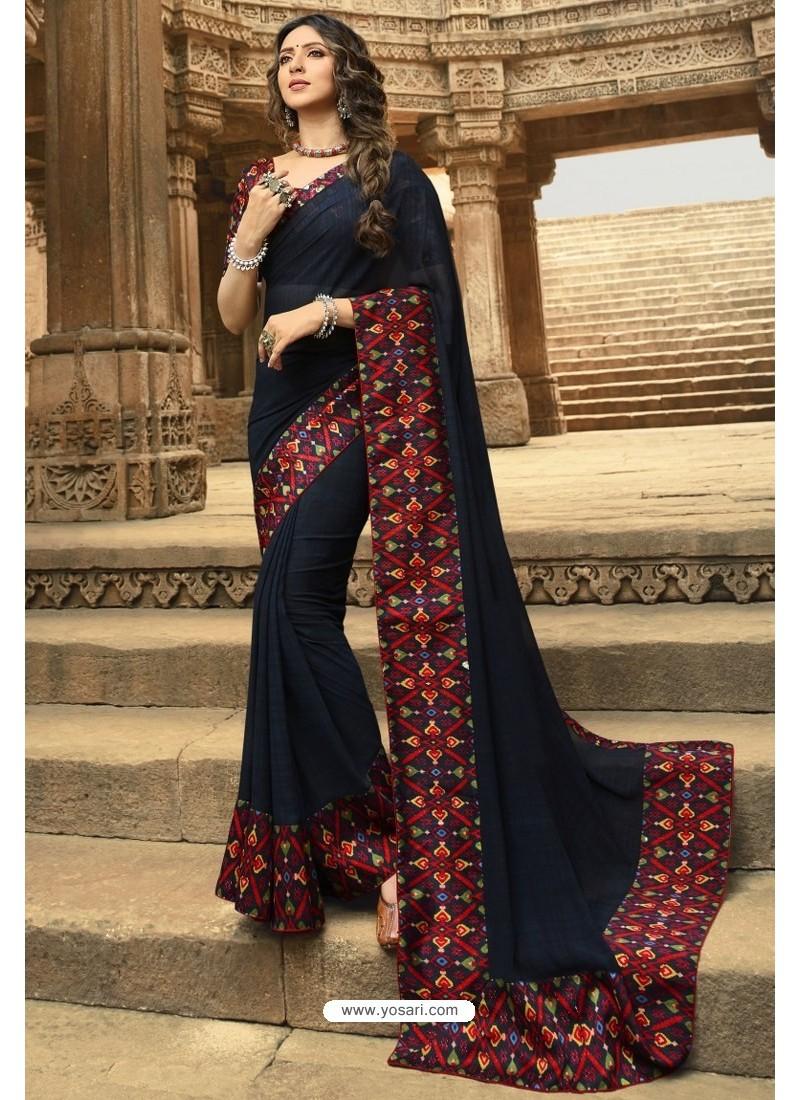 Navy Blue Casual Wear Designer Georgette Sari