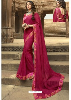 Rose Red Casual Wear Designer Georgette Sari
