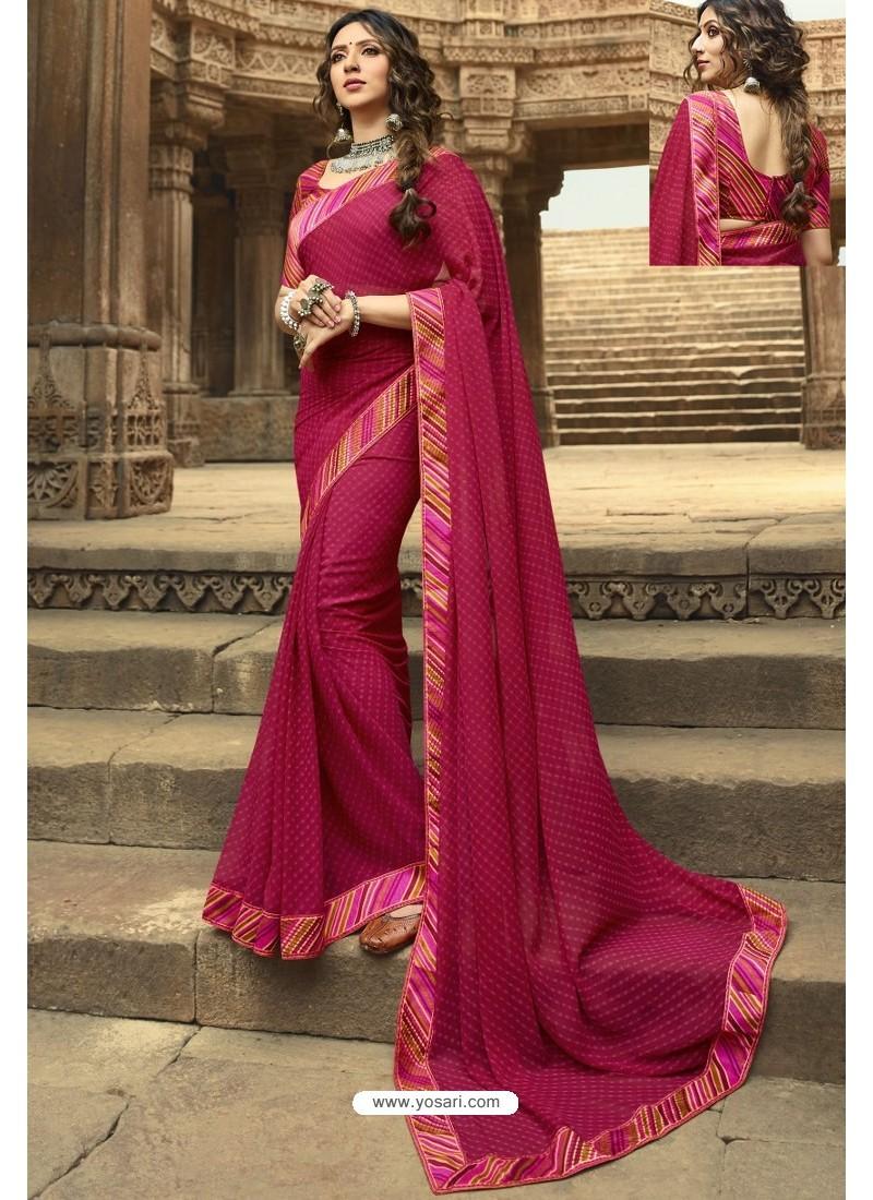 Rose Red Casual Wear Designer Georgette Sari