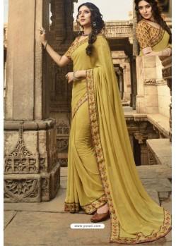 Marigold Casual Wear Designer Georgette Sari