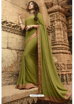 Parrot Green Casual Wear Designer Georgette Sari