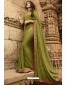 Parrot Green Casual Wear Designer Georgette Sari