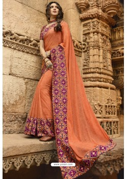 Light Orange Casual Wear Designer Georgette Sari