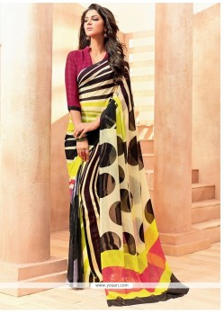 Tempting Print Work Casual Saree