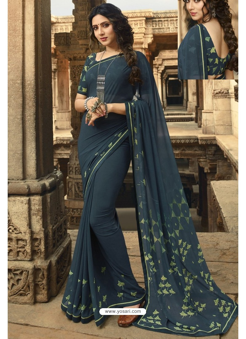 Teal Blue Casual Wear Designer Georgette Sari
