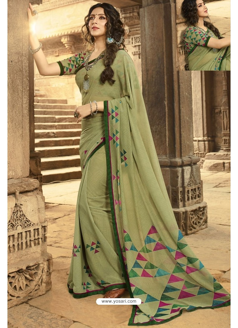 Olive Green Casual Wear Designer Georgette Sari