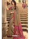 Camel Casual Wear Designer Georgette Sari