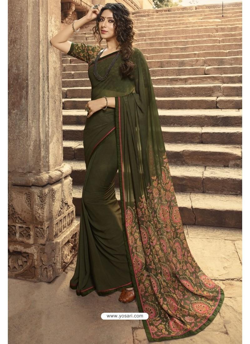 Mehendi Casual Wear Designer Georgette Sari