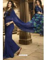 Dark Blue Casual Wear Designer Georgette Sari