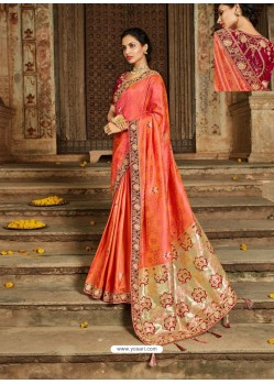 Orange Latest Embroidered Designer Wedding Sari