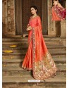 Orange Latest Embroidered Designer Wedding Sari