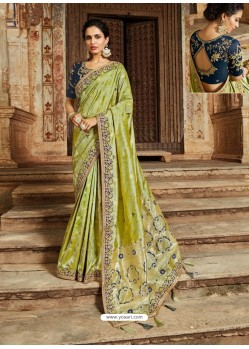 Green Latest Embroidered Designer Wedding Sari
