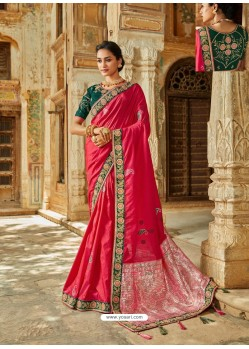 Dark Peach Latest Embroidered Designer Wedding Sari