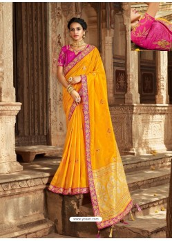 Yellow Latest Embroidered Designer Wedding Sari