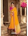 Yellow Latest Embroidered Designer Wedding Sari