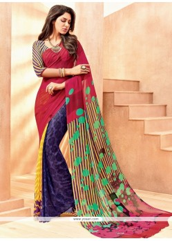 Floral Lace Work Casual Saree