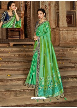 Parrot Green Latest Embroidered Designer Wedding Sari