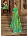 Parrot Green Latest Embroidered Designer Wedding Sari