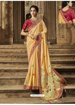 Cream Latest Embroidered Designer Wedding Sari