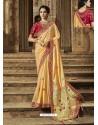 Cream Latest Embroidered Designer Wedding Sari