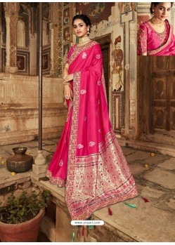 Rose Red Latest Embroidered Designer Wedding Sari