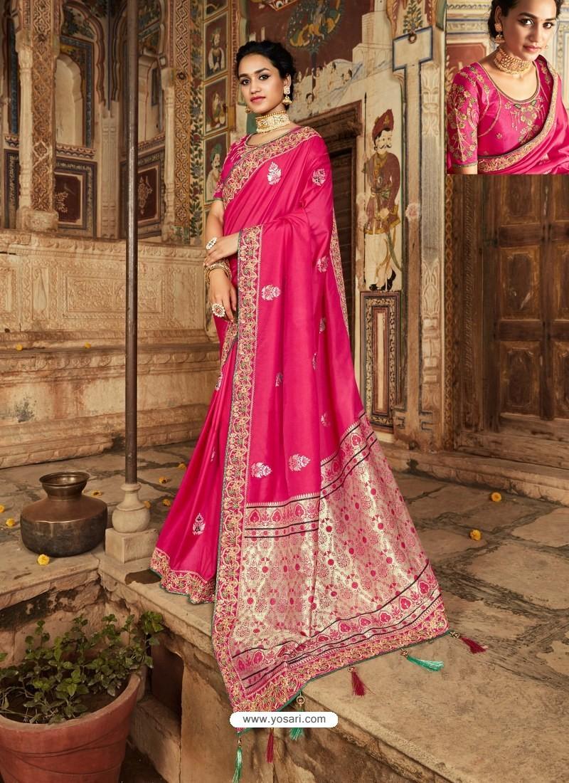 Rose Red Latest Embroidered Designer Wedding Sari