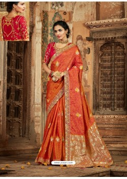 Rust Latest Embroidered Designer Wedding Sari