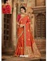 Rust Latest Embroidered Designer Wedding Sari