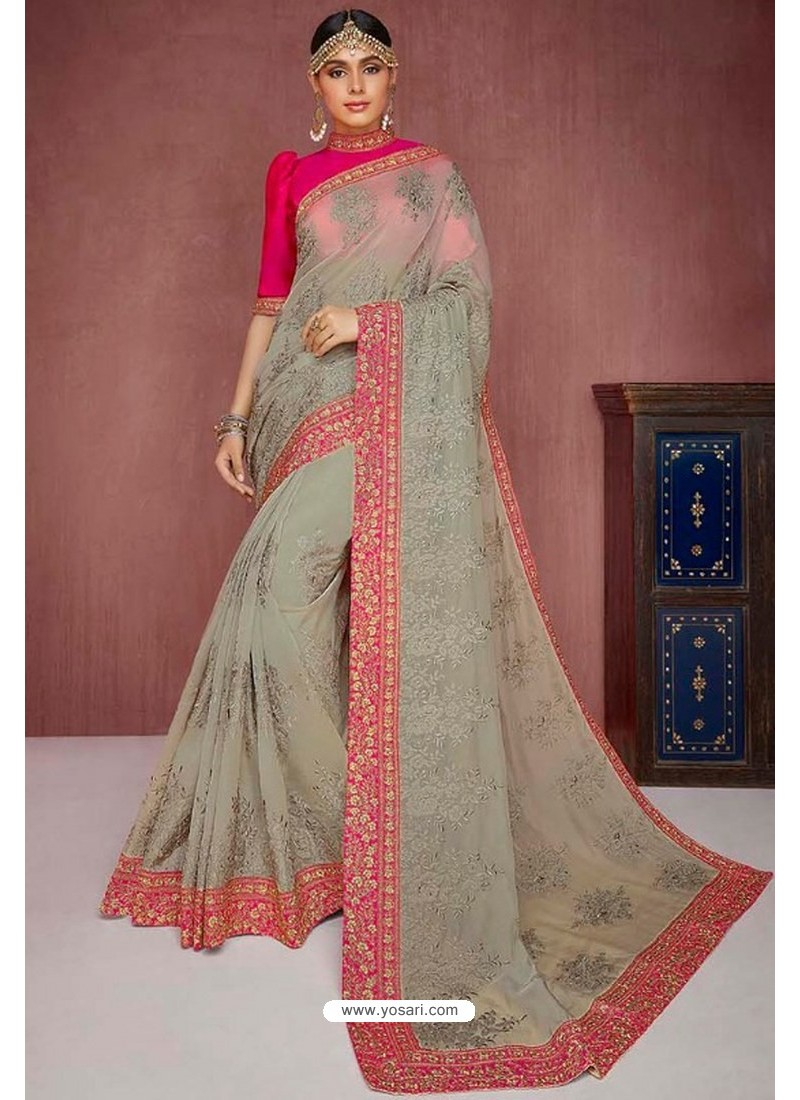 Light Grey Party Wear Heavy Embroidered Sari