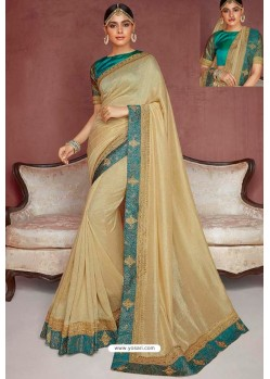 Light Beige Party Wear Heavy Embroidered Sari