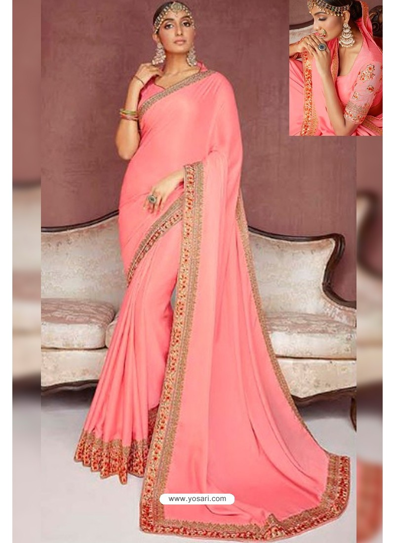 Peach Party Wear Heavy Embroidered Sari