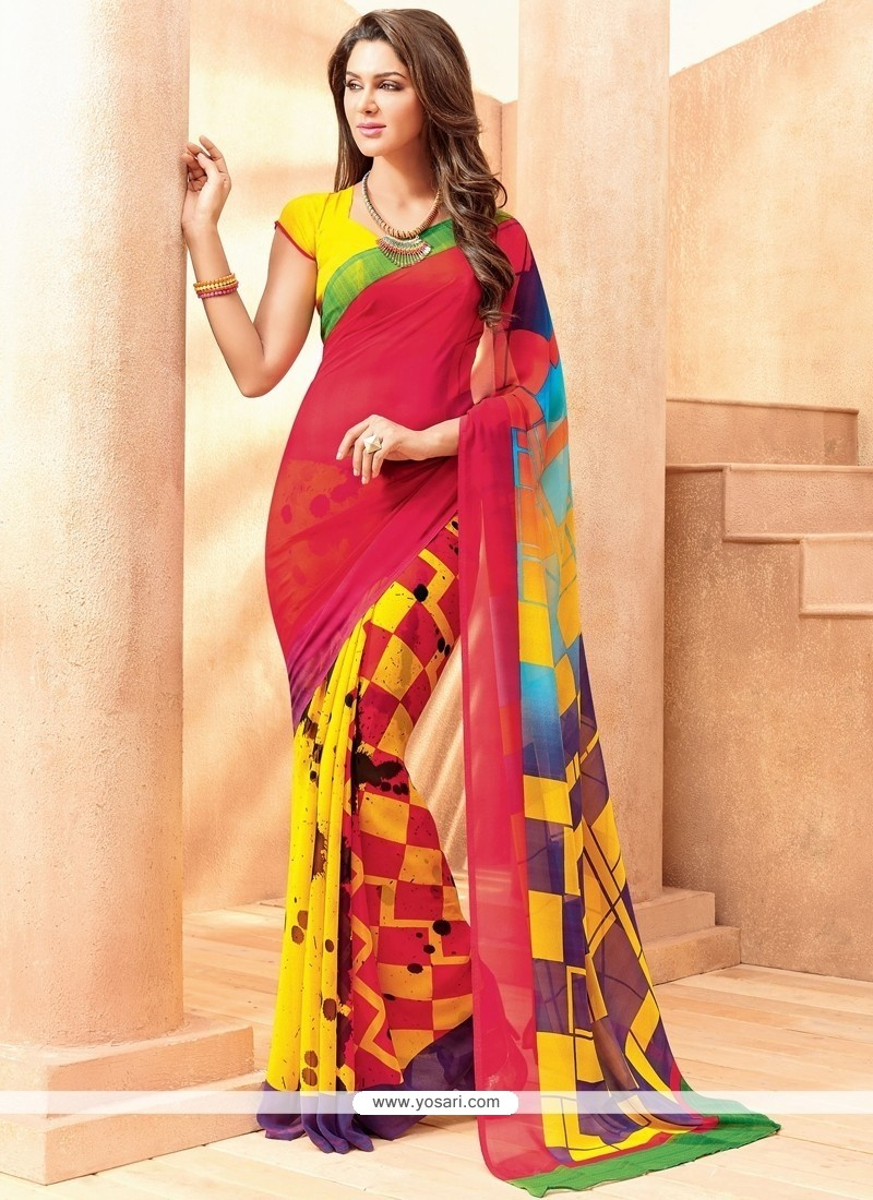 Whimsical Georgette Print Work Casual Saree