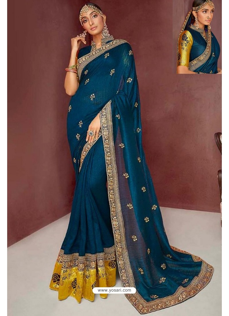 Teal Blue Party Wear Heavy Embroidered Sari